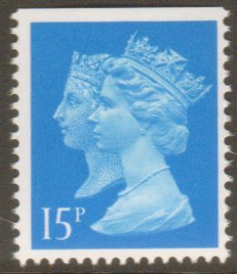 SG1467 15p Centre Band Double Head Machin Stamp Harrison Print Imperf at Top